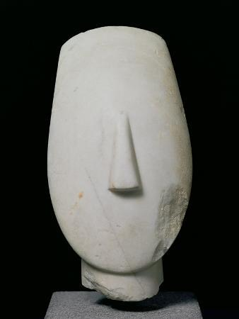 Head of a Woman, Fragment of a Statue from Keros, Early Cycladic II Period, circa 2700-2400 BC