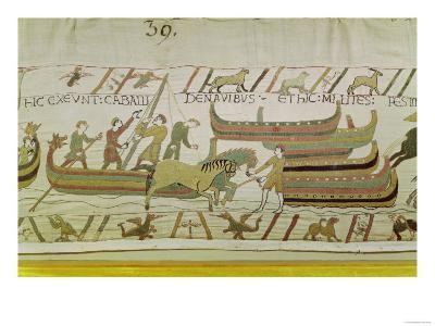 Unloading Horses from the Ships, Detail from the Bayeux Tapestry, Before 1082