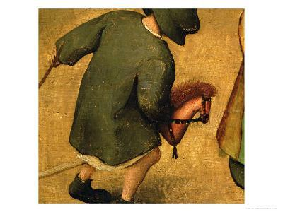 Children's Games, Detail of Bottom Section Showing a Child and a Hobby-Horse, 1560