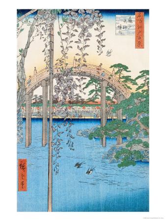 "The Bridge with Wisteria or Kameido Tenjin Keidai, Plate 57 from ""100 Views of Edo,"" 1856"