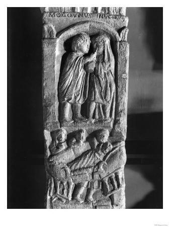 Funerary Stela Depicting a Doctor Operating on a Woman's Eye and a Bed-Ridden Woman