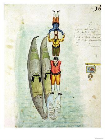 Three Men Balancing on Two Gondolas, 1772