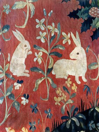 """The Lady and the Unicorn: """"Taste,"""" Detail of Two Rabbits"""