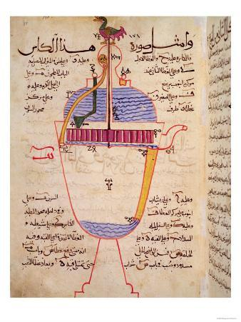 """Mechanical Device for Pouring Water, from the """"Treatise of Mechanical Methods,"""" by Al-Djazari"""