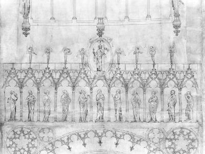 Design for the Gallery of Kings on the Facade of Strasbourg Cathedral, circa 1380