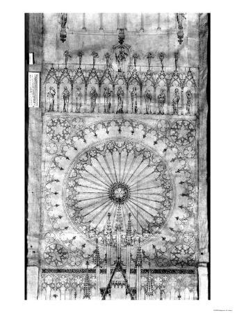 Design for the Rose Window and Gallery of Kings on the Facade of Strasbourg Cathedral, circa 1380