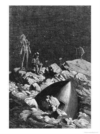 """Illustration from """"From the Earth to the Moon"""" by Jules Verne (1828-1905) Paris, Hetzel"""