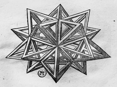 """Dodecahedron, from """"De Divina Proportione"""" by Luca Pacioli, Published 1509, Venice"""