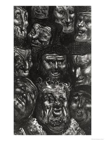 "Eleven Grotesque Faces from ""Les Contes Drolatiques"" by Honore De Balzac (1799-1850)"