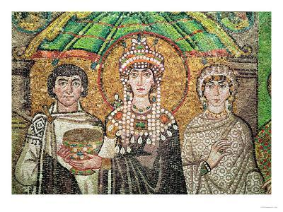 Empress Theodora with Her Court of Two Ministers and Seven Women, circa 547 AD