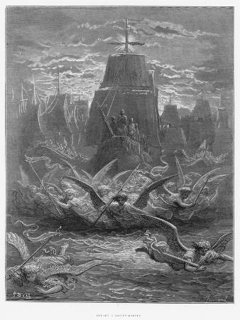 """St. Louis (1214-70) Leaving Aigues-Mortes, Illustration from """"Histoire Des Croisades"""""""