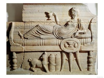 Detail from a Sarcophagus Depicting a Woman Reclining on a Bed