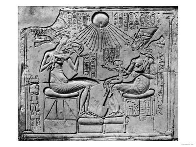 Relief of the Aten Giving Life and Prosperity to Amenophis IV (circa 1352-1336 BC) His Wife