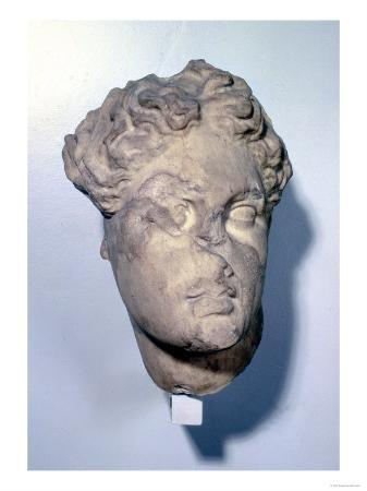 Head of Apollo, from the Tomb of Mausolos, the Mausoleum at Halicarnassus, circa 350 BC