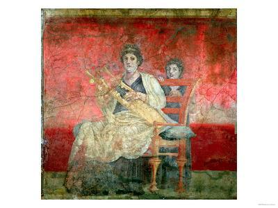 Noblewoman Playing a Cithera, from the Boscoreale Villa, Pompeii, circa 50 BC