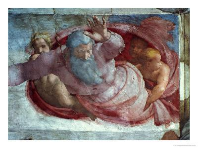 Sistine Chapel: God Dividing the Waters and Earth (Pre Restoration)