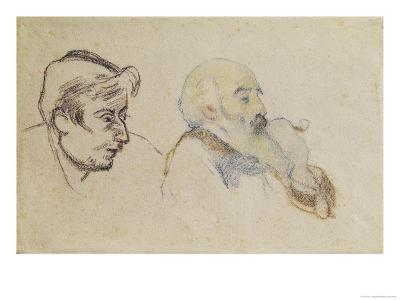 Portrait of Pissarro by Gauguin and Portrait of Gauguin by Pissarro (Coloured Chalk)