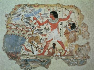 Nebamun Hunting in the Marshes with His Wife an Daughter, Part of a Wall Painting