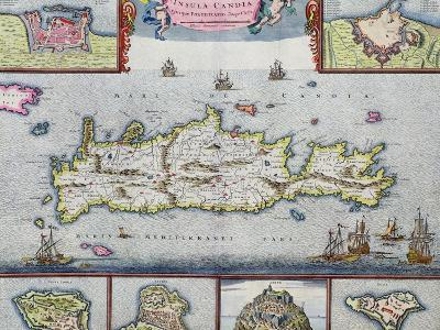 Map of the Island of Candia (Crete) with the Sea Port of Herakleion, circa 1680
