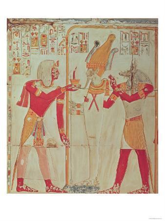 Sethi I (1394-1279 BC) Burning Incense Before Osiris, from the Tomb of Seti I, Valley of the Kings