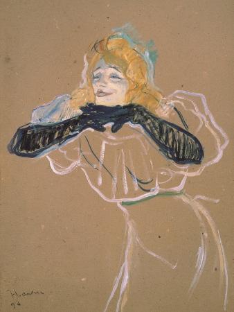 """Yvette Guilbert (1867-1944) Singing """"Linger, Longer, Loo,"""" 1894"""