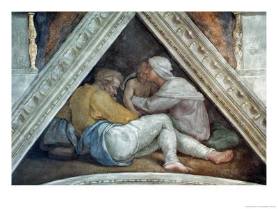 Sistine Chapel Ceiling: the Ancestors of Christ (Pre Restoration)
