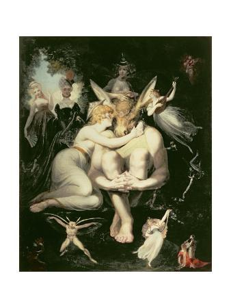Titania Awakes, Surrounded by Attendant Fairies, Clinging Rapturously to Bottom