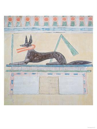 Anubis, Egyptian God of the Dead, Lying on Top of a Sarcophagus, Wall Painting