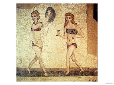 Women Gymnasts, Roman Mosaic, Early 4th Century