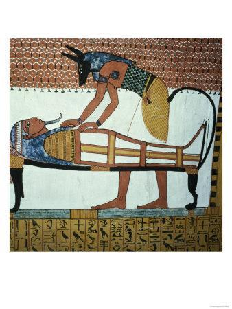 Anubis and a Mummy, from the Tomb of Sennedjem, the Workers' Village, New Kingdom (Painted Mural)