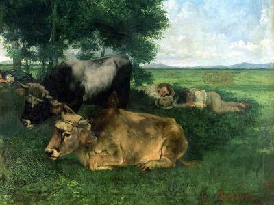 La Siesta Pendant La Saison Des Foins (And Detail of Animals Sleeping under a Tree), 1867