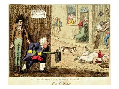 Mad Dog, a Caricature of People's Fear of a Mad-Dog and of Rabies, 1826