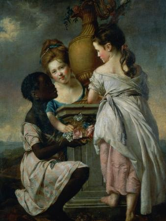 A Conversation Between Girls, or Two Girls with Their Black Servant, 1770