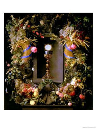 Communion Cup and Host, Encircled with a Garland of Fruit