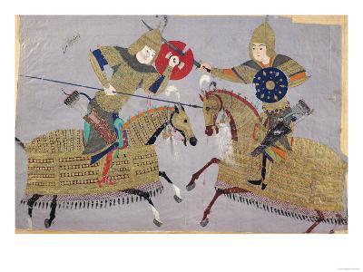 Two Warriors on Horseback in Combat, School of Tabriz, circa 1480