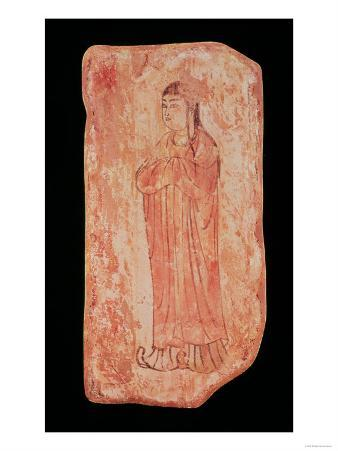 Woman with Typically Chinese Features in Nestorian Painting, Assyrian, 5th Century