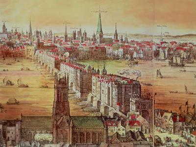 "Old London Bridge, Detail from ""Vischer's London,"" 17th Century"