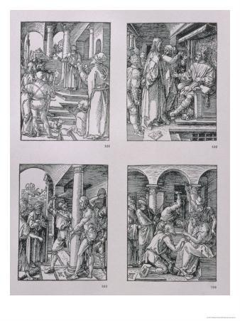 """The """"Small Passion"""" Series (Clockwise): Christ Before Pilate, Christ Before Herod, Flagellation"""