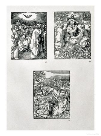 """The """"Small Passion"""" Series (Clockwise): Pentecost, Last Judgement, Agony in the Garden, Pub. 1511"""