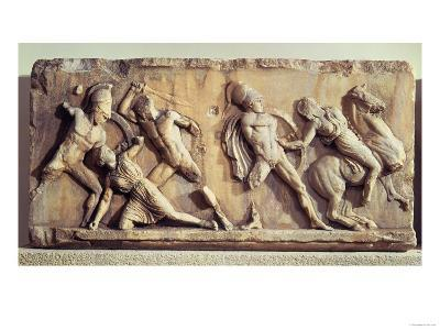 The Battle of the Greeks and the Amazons, from the Mausoleum of Halicarnassus, circa 350 BC