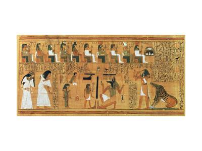 The Weighing of the Heart Against the Feather of Truth, circa 1250 BC (Painted Papyrus)