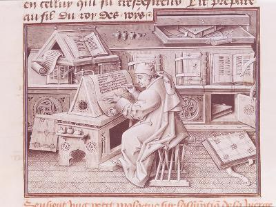 The Copyist Jean Mielot (Fl.1448-68) Working in His Scriptorium, Flemish
