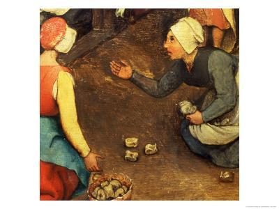 Children's Games (Kinderspiele): Detail of a Game Throwing Knuckle Bones, 1560