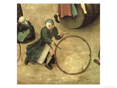 Children's Games (Kinderspiele): Detail of a Child with a Stick and Hoop, 1560