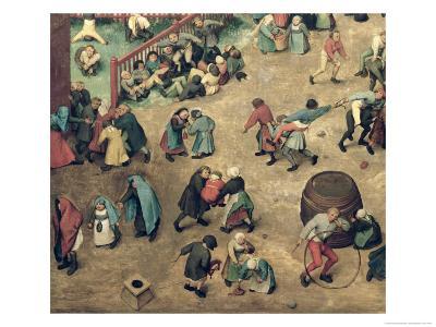 Children's Games (Kinderspiele): Detail of Left-Hand Section Showing Children Bowling Hoops
