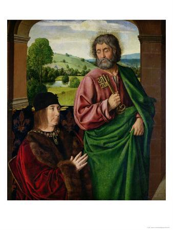 Peter II (1439-1503) Duke of Bourbon Presented by St. Peter, Left Hand Wing of Triptych c. 1492-93