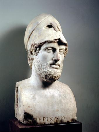 Bust of Pericles (D.429 BC) Roman, Copy of a Greek Original, circa 430 BC (Marble Sculpture)