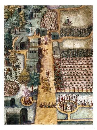 The Indian Village of Secoton, Book Illustration, circa 1570-80