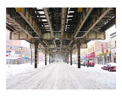 El Train during a NYC Blizzard
