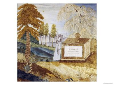 A Mourning Woman by the Tombstone of Joseph Fox, American, 1820